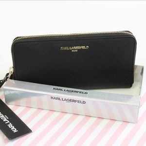 NWB KARL LAGERFELD CONTINENTAL BLACK WALLET